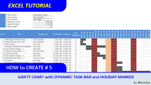 How To Create A Gantt Chart In Excel 2017 Simple Method To Create Excel Gantt Chart With Dynamic Task Bar And Holidays Marker