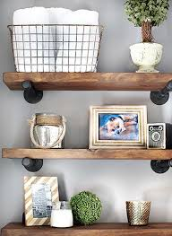rustic wood bathroom wall shelf ideas