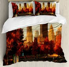 city duvet cover set with pillow shams old port montreal morning print