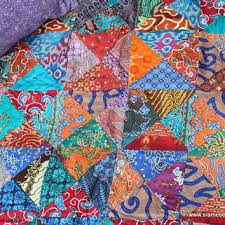 Small Throw Blanket Double Sided Bali from Siamese Dream Design & Small Throw Blanket Double Sided Bali Batik Patchwork Reversible Quilt  Cotton Boho Bla Adamdwight.com