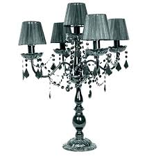 black chandelier with lamp shades and white