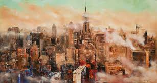 new york city through the clouds painting manit nyc abstract art