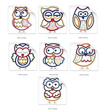 Owl Birthday Applique Design Owls Machine Embroidery Applique Design Combo Set