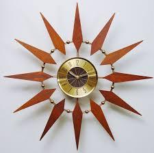 mid century modern starburst elgin mid century wall clock