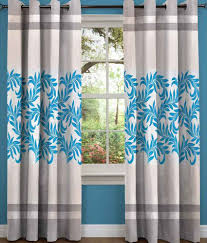 Small Picture Sn Home Decor Single Long Door Eyelet Curtain Floral Blue Buy Sn