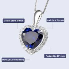 details about heart blue sapphire white topaz 925 sterling silver pendant 18 chain necklace