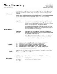 Resume Layout Templates Magnificent Resume Template Word Resume Templates Mary Hloomberg Free Resume