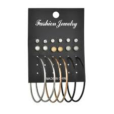 Cyc Design Wholesale Misscycy 9 Pairs Set Punk Big Hoop Earrings For Women Fashion Rhinestone Simulated Pearl Earrings Party Jewelry