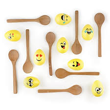 The Wooden Spoon Game Amazon Easter Egg Relay Game with Emoji Eggs 100 Wooden Spoons 21