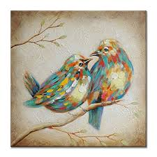 uac wall arts hand painted animal oil painting colorful birds canvas art with stretched frame wall on colorful birds canvas wall art with uac wall arts hand painted animal oil painting colorful birds canvas