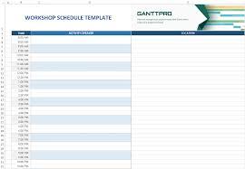 Excel Schedule Chart Template Workshop Schedule Template Excel Template Free Download