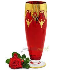 <b>Ваза</b> для цветов Dinastia Rosso <b>42 см</b> хрусталь красный/золото ...