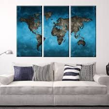 blue gray world map piece simple 3 piece canvas wall