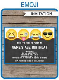 Boys Birthday Party Invitations Templates Emoji Theme Party Invitations Template Boys