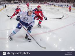 Moscow, Russia. 26th Jan, 2019. MOSCOW, RUSSIA - JANUARY 26, 2019: Barys  Astana's Dmitry Shevchenko (front), CSKA Moscow's Greg Scott and Mikhail  Naumenkov (L-R back) in their 2018/19 KHL Regular Season ice