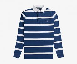 bar stripe rugby shirt navy white