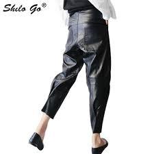 pu harem leather pants 2019 new spring high waist black loose pocket harem pants women trousers fashion tide
