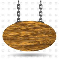 oval wooden sign board hanging on a chains vector image vector ilration of objects to zoom