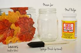 maple leaf decoupaged mason jars fall decor materials