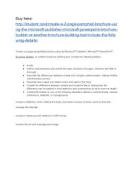 Create A 2 Page Pamphlet Brochure Using The Microsoft