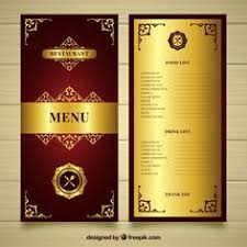 golden menu template with gothic style free vector