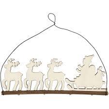 wooden santas sleigh hanging decoration zoom