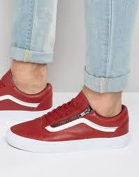 vans old skool leather zip sneakers in red v0018gjth