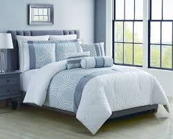 8 piece madlyn ice blue white comforter set king