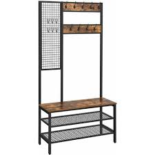 coat stand with grid wall shoe rack