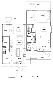 Small Townhouse Design Interior Comfortable Townhouse Main Floor Plan With Incredible