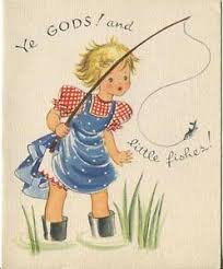 Vintage Blonde Girl Fishing Rod Boots Little Fishes Happy Birthday