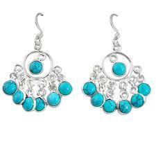 earrings image earringsimage clearance fine blue turquoise 925 sterling silver chandelier earrings jewelry k83668