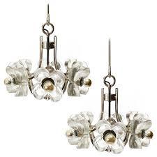 two mazzega pendant lights chandeliers glass chrome 1970