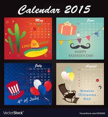 Calendar 2015 June July Holiday Calendar 2015 Of May June July August Vector Image
