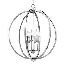 feiss corinne 6 light polished nickel pendant