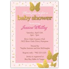 Pink Gold Butterfly Baby Shower Invitations Paperstyle