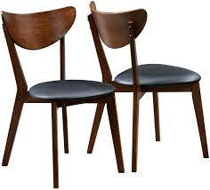 peony retro dark walnut wood and black faux leather seat dining chairs set of 2