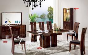 High Gloss Dining Table Dt21a Dining Room 10pc Set In Dark Brown High Gloss By Pantek