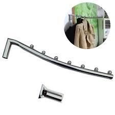 stainless steel wall mount clothes hanger rack hook w swing arm ball holder