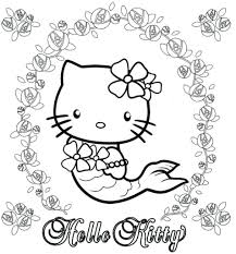 Printable Hello Kitty Mermaid Coloring Pages Printable Coloring