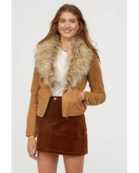h m natural faux fur collar biker jacket
