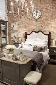 bedroom, Fabulous Round Clock And Bird Picture On Brick Wall Inside Rustic  Bedroom Ideas With