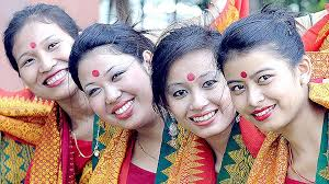slew of people. bodo dancers dressed in traditional attire at the north east festival 2014 new delhi. slew of people