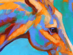 colorful running wild horse painting by theresa paden