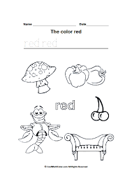 Color Red Worksheets for Kindergarten