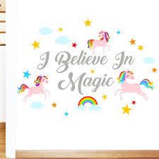Rubybloom Designs I Believe In Magic Rainbow Unicorn Stars Girls Quote Wall Sticker Childrens Art Vinyl Decal Transfer Designed By Rubybloom Designs