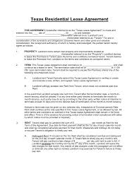 Sample Texas Residential Lease Agreement Free Texas Standard Residential Lease Agreement Template PDF 1