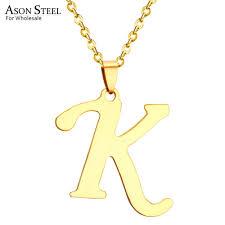 whole asonsteel k letter charm pendant necklaces chain necklace letter pendant necklace gold stainless steel custom jewelry gold jewellery from