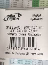 Ideal Tridon Hose Clamp Size Chart