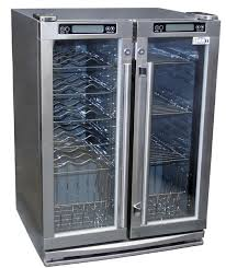 summit spr6 os2z outdoor refrigerator 24 inch 4 8 cu ft two glass doors 2 zones for beverages and wine full handle reversible door stainless steel